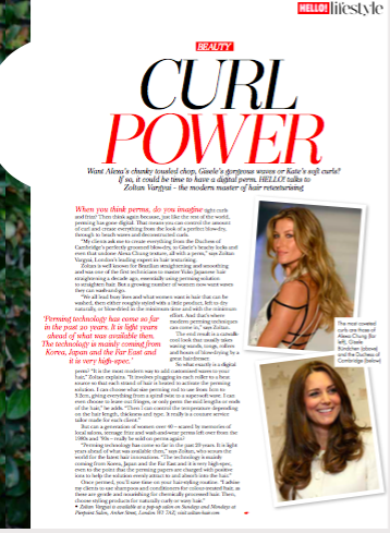 Hello magazine on digital perming Curl Power