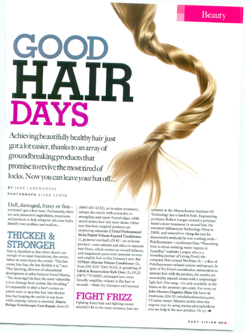 Easy living magazine on ZOltans keratin and hair treatments